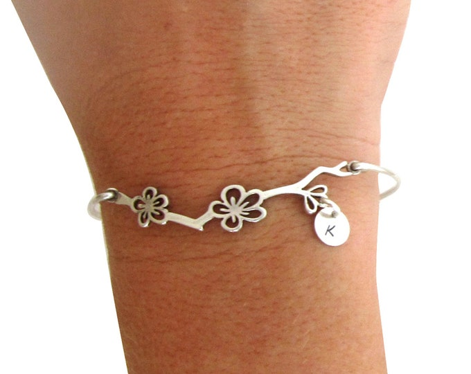 Cherry Blossom Bracelet Bridesmaid Gift Bracelet Sterling Silver Bridesmaid Bracelet Personalized Bridesmaid Jewelry Cherry Blossom Jewelry