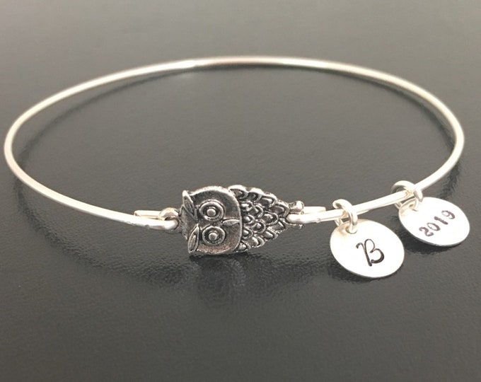 Wise Owl Graduation Charm Bracelet 2019 Personalized High School Graduation Gift for Her Daughter Best Friend Sister Graduation Bracelet