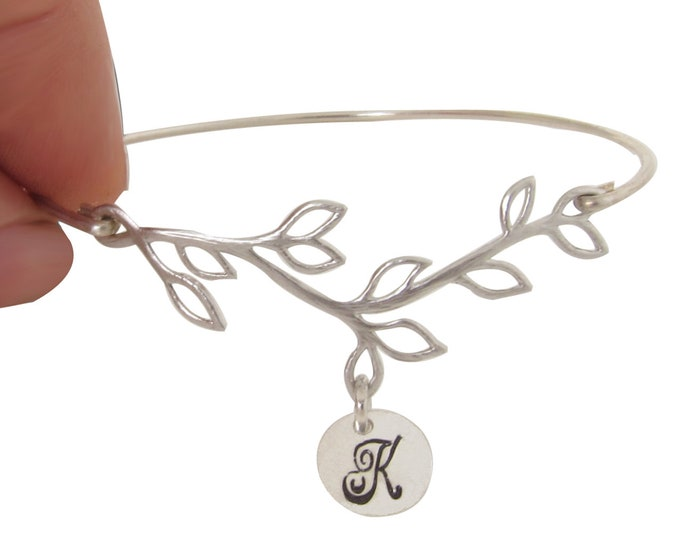 Bridesmaid Bracelet Silver Olive Branch Initial Bracelet Cursive Font Bridesmaid Jewelry Silver Customize a Set of Bridesmaid Gift Bracelets