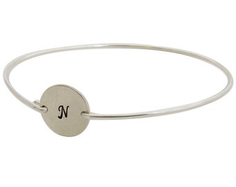 Sterling Silver Initial Bracelet Sterling Silver Bracelet for Women Personalized Teen Girl Gift for Birthday Sterling Silver Bangle Bracelet