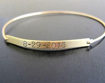 Bracelet with Date on it, Wedding Date Bracelet Wedding Date Gift, Birthdate Gift Birthdate Bracelet, Custom Hand Stamped Bracelet for Women