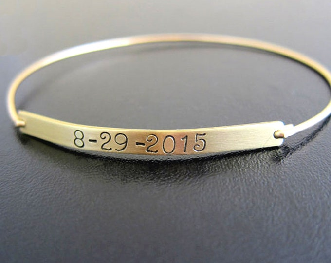 Bracelet with Date on it, Wedding Date Bracelet Wedding Date Gift, Birthdate Gift Birthdate Bracelet, Custom Hand Stamped Bracelet for Women