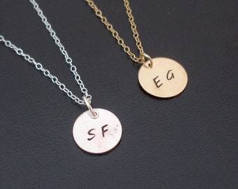 Initial Monogram Necklace, Gold Monogram Necklace, or Sterling Silver Monogram Necklace, Tiny Initial Necklace, Monogram Initial Necklace