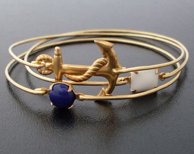 Nautical Bracelet Set 3 Bangles Women Nautical Jewelry Gold Tone Sailing Bracelets Sailing Jewelry Sailing Gift Sailor Gift Sailor Bracelets