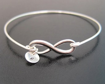 Personalized Infinity Bracelet Womens Initial Bracelet Silver Tone Infinity Bangle Bracelet 1 to 10 Charms Best Friend Birthday Gift for Her