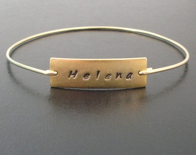 Name Bangle Bracelet, Custom Stamped Bracelet, Custom Gold Bracelet, Stamped Bangle Bracelet, Custom Bangle Bracelet