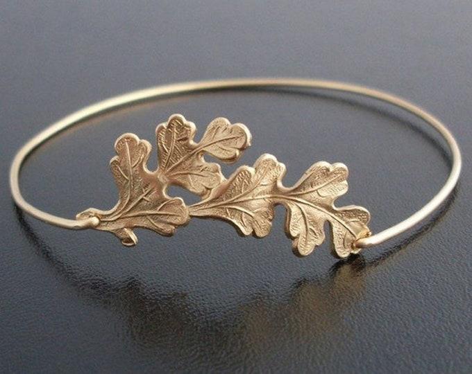 Oak Leaf Bangle Bracelet Fall Fashion for Women Fall Jewelry Oak Leaf Bracelet Oak Leaf Jewelry Oak Jewelry Oak Tree Jewelry Autumn Fashion