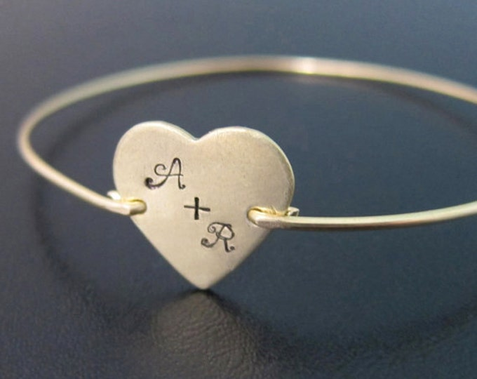 Heart Bracelet Personalized Couples Initials One Year Anniversary Gift for Girlfriend Jewelry Girlfriend Bracelet 1 Year Anniversary for Her
