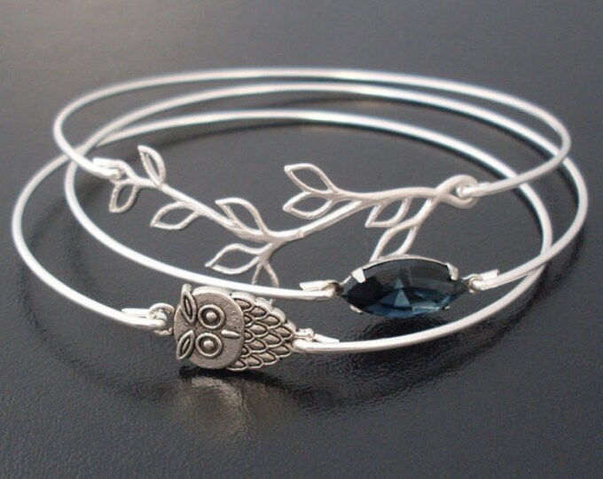 Midnight Owl Bracelet Set Owl Jewelry Bird Watcher Jewelry Owl Lover Gift Bird Lover Gift for Women Nature Jewelry Stack Bangle Bracelet Set