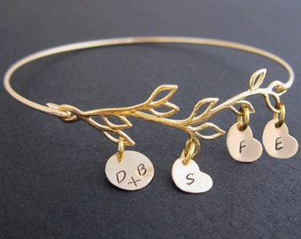 Mothers Day Gift From Husband, Mothers Day Gift From Kids, Family Tree Jewelry, Family Tree Bangle, Mom Gift From Daughter, Present From Son