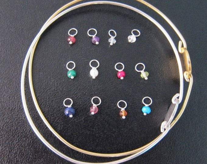 Add a Birthstone Charm to a Bangle Bracelet You Order from My Shop - Sterling Silver or Gold Filled, Birth Stone Charm, Birthstone Jewelry