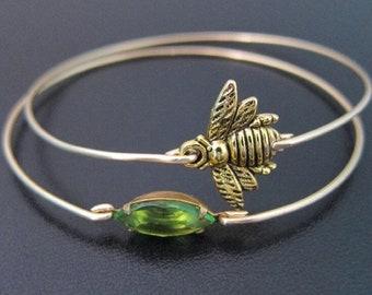 Honey Bee Bracelet Set Honey Bee Jewelry Set Queen Bee Jewelry Gold Tone Stack Bracelet Green Jewelry Green Bangle Bracelet Honeybee Jewelry