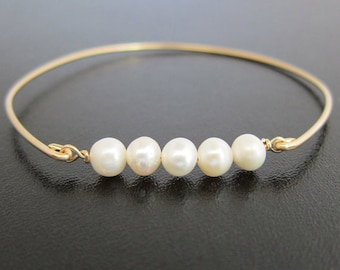 Cultured Freshwater White Pearl Bracelet for Women 14k Gold Filled Bangle Bridal Bracelet Pearl Bridal Jewelry Pearl Wedding Bracelet Bride