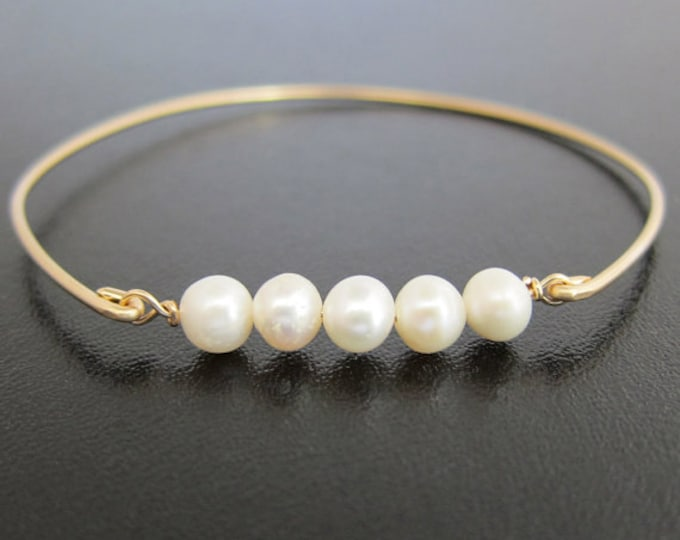 Cultured Freshwater White Pearl Bracelet 14k Gold Filled Bangle Bridal Bracelet Pearl Bridal Jewelry Wedding Bracelet Wedding Jewelry Bride