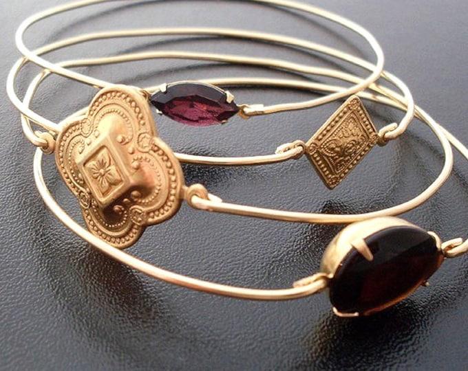 Bohemian Bracelet Stack Bangle Set, Bohemian Jewelry, Gypsy Jewelry, Bohemian Bangles Stackable Bracelet Set, Bohemian Wedding Jewelry