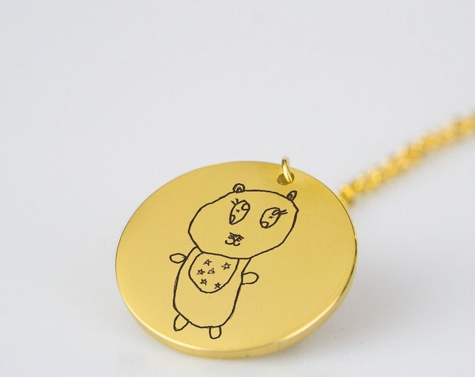 Kids Artwork Necklace, Custom Drawing of Children's Art Necklace, Child's Painting Drawing Art