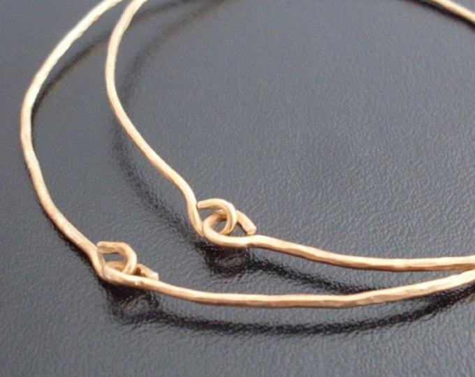 14k Gold Filled Hammered Bracelets, Set of 2 Handcrafted Bracelets, Festival Jewelry, Hammered Bangle Bracelets, Handcrafted Bangles