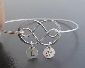Double Infinity Bracelet Sterling Silver Infinity Jewelry Double Infinity Bangle Bracelet Women Unique Wedding Bracelet Personalized Gift