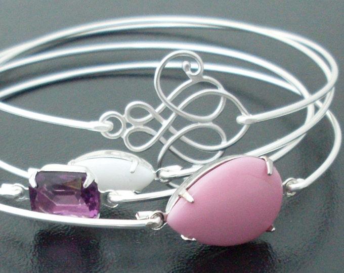 Sweetheart Bangles, Elegant Bracelet Set, Pretty Bracelets, Pretty Jewelry, Elegant Jewelry, Pink Wedding Jewelry, Purple Wedding Jewelry