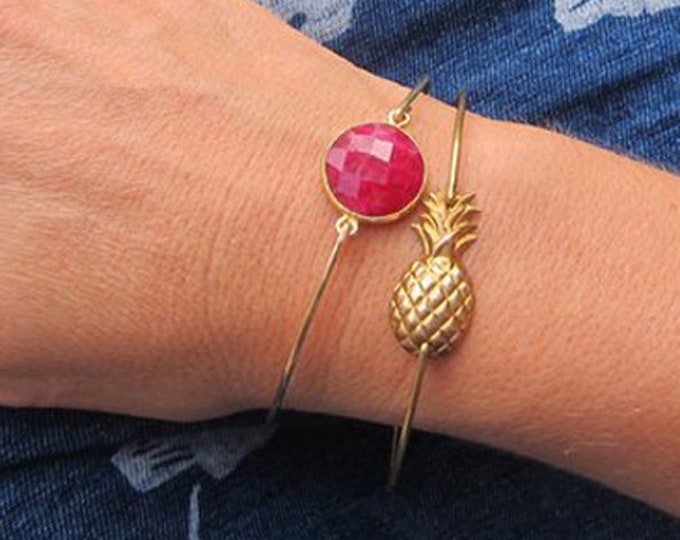 Pineapple & Ruby Birthstone Bracelet Set July Birthstone Jewelry Tropical Fruit Salad Ruby Red Stone Bracelet for Women July Birthday Gift