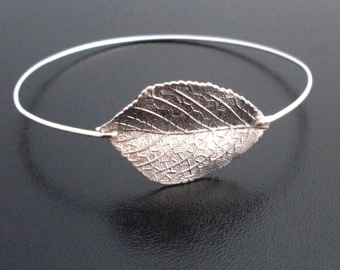 Leaf Bracelet Bangle Silver Tone Leaf Bangle Bracelet Bridal Gift Aspen Leaf Jewelry Aspen Bracelet Nature Jewelry for Women, Frosted Willow