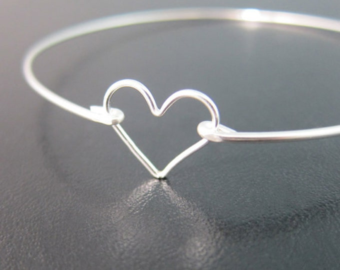 Sterling Silver Heart Bracelet Sterling Silver Heart Bangle Sterling Bridesmaid Jewelry Bridesmaid Gift Bracelet Silver Sterling Bracelet