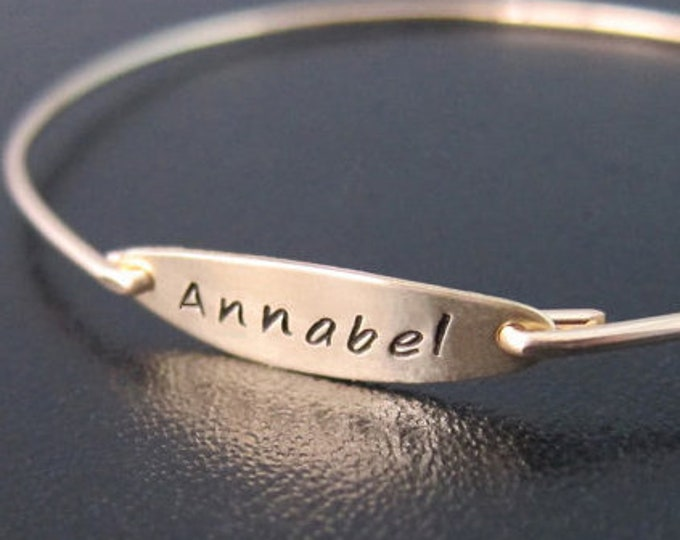 Personalized Name Bracelet 14k Gold Filled Name Plate Bracelet Hand Stamped Bracelet Name Bangle Bracelet for Women Name Jewelry Bracelet