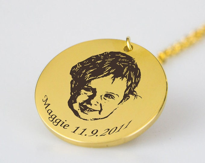Your Child's Portrait Sketch Necklace Personalized with Name and Birthdate New Baby Gift for Mom