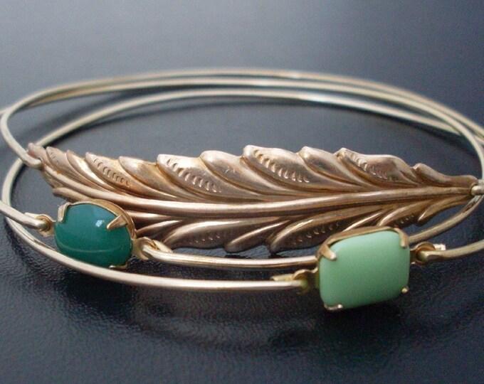 Woodland Stackable Bracelet Set Nature Jewelry Nature Lover Gift for Women Green Jewelry Green Bracelets Gold Tone Stack Bangle Bracelet Set