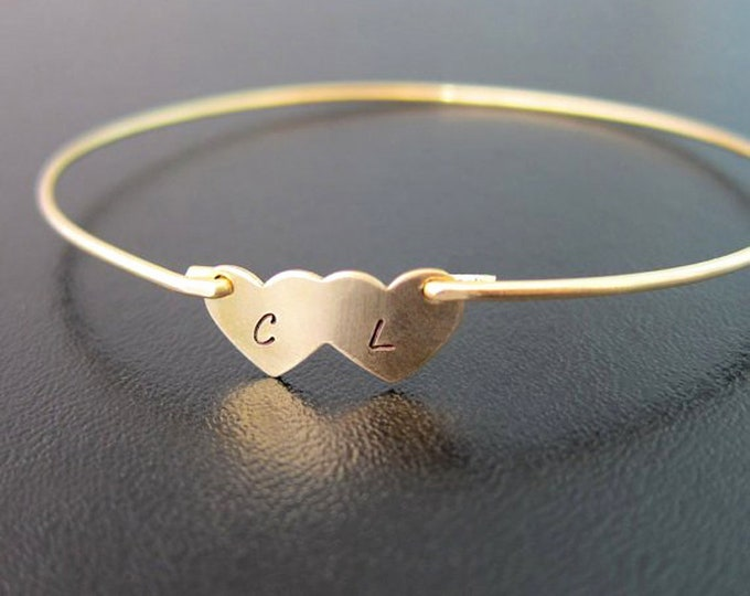Double Heart Bracelet, Two Initial Bracelet, Couples Bracelet for Her, Couples Jewelry, Wife Gift, Cute Unique Personalized Couple Gift Idea