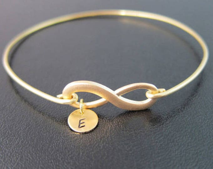 Infinity Bracelet Wedding Gift for Bridesmaid Gift Unique Monogram Bracelet for Women Gold Tone Infinity Knot Bracelet Personalized Gift Her