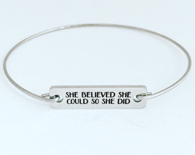 She Believed She Could So She Did Bracelet Graduation Gift for Her, Best Friend, Sister, Inspirational Gift for Women Inspirational Bracelet