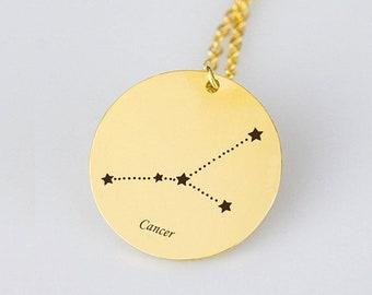 Cancer Necklace Gold Cancer Zodiac Necklace Cancer Zodiac Sign Necklace Star Cancer Zodiac Gift Horoscope Necklace Horoscope Sign Necklace