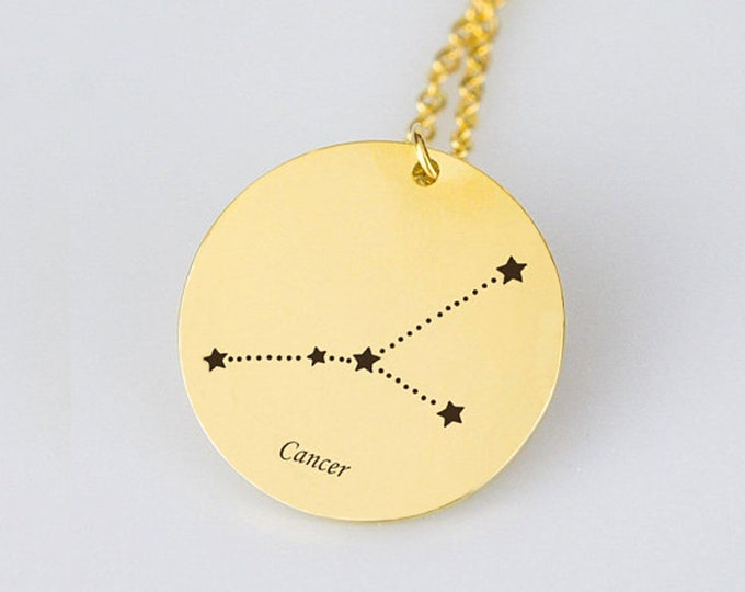 Cancer Necklace Gold Cancer Zodiac Necklace Cancer Zodiac Sign Necklace Star Cancer Zodiac Gift Horoscope Necklace Horoscope Sign Necklace