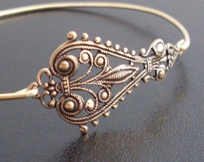 Bangle Bracelet Maylania Antique Gold Tone Boho Bangle Bracelet Boho Jewelry Gift for Girlfriend or Her Boho Chic Jewelry Boho Chic Bracelet