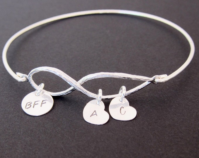 BFF Gift, BFF Bracelet, BFF Jewelry, Best Friend Birthday Gift, Best Friend Gift, Long Distance Friendship Bracelet Bangle, Friendship Gift