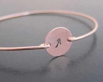 Personalized Rose Gold Bracelet for Women, Bridesmaid Jewelry Gift Rose Gold Bridesmaid Bracelet Bangle, Initial Bracelet, Rose Gold Jewelry