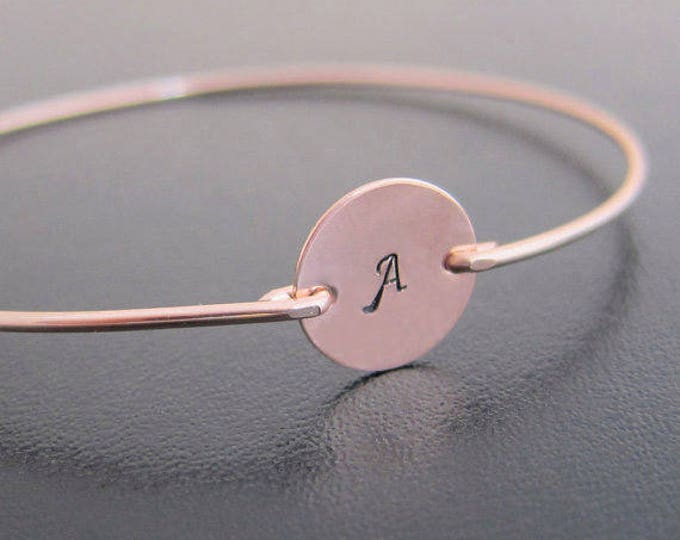 Personalized Rose Gold Bracelet for Women, Bridesmaid Jewelry Gift Rose Gold Bridesmaid Bracelet Bangle, Initial Bracelet, Rose Gold Jewelry
