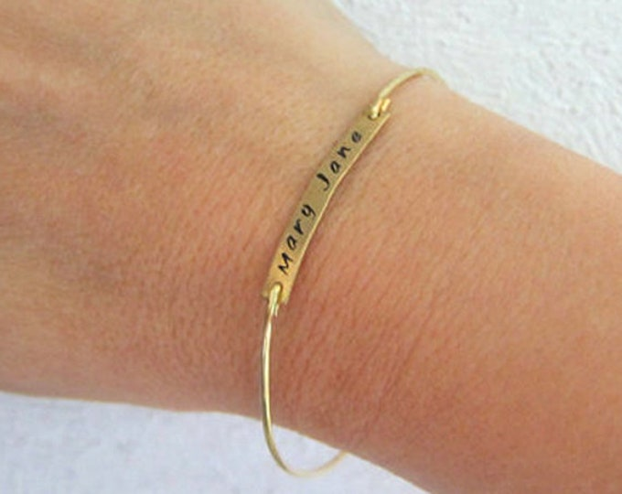 14k Gold Filled Name Bangle Bracelet, Filled Gold Name Bracelet, Stamped Engraved Bracelet for Women, Thin Bracelet, Thin Bangle Bracelet