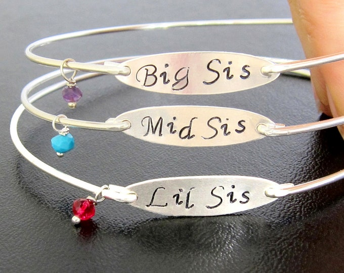 3 Sisters Jewelry Birthstone Charm Bracelet Set, 3 Sisters Bracelets for 3 Sister Gift Idea for Wedding Sister Birthday Gift from Sister