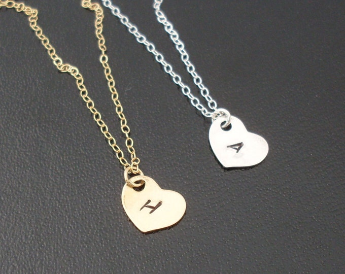 Minimalist Sideways Heart Initial Necklace Personalized Heart Charm Necklace 14k Gold Filled or Sterling Silver Initial Heart Necklace