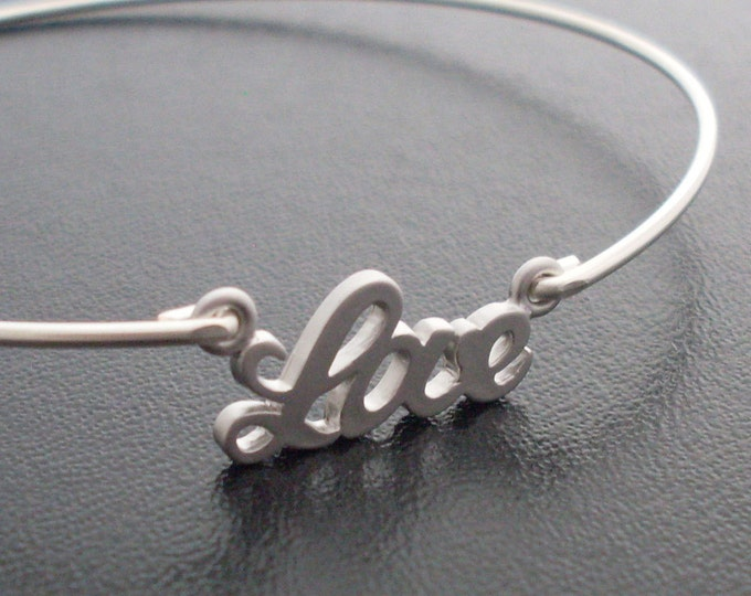 Love Charm Bangle Bracelet, Unique Bridesmaid Gift Idea, Bridal Party Gift, Bridal Party Jewelry, Unique Gifts For Bridesmaids