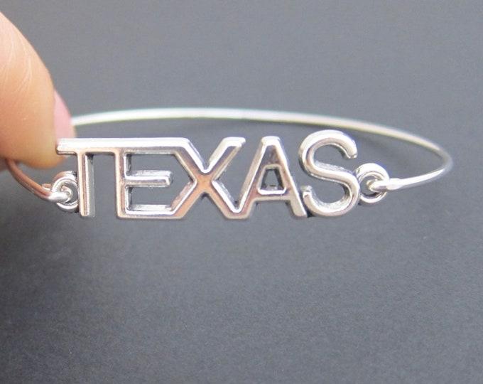 Texas Bracelet, State of Texas Jewelry, Texas Bangle, Lone Star State Jewelry, State of Texas Bracelet, Texas State Bracelet