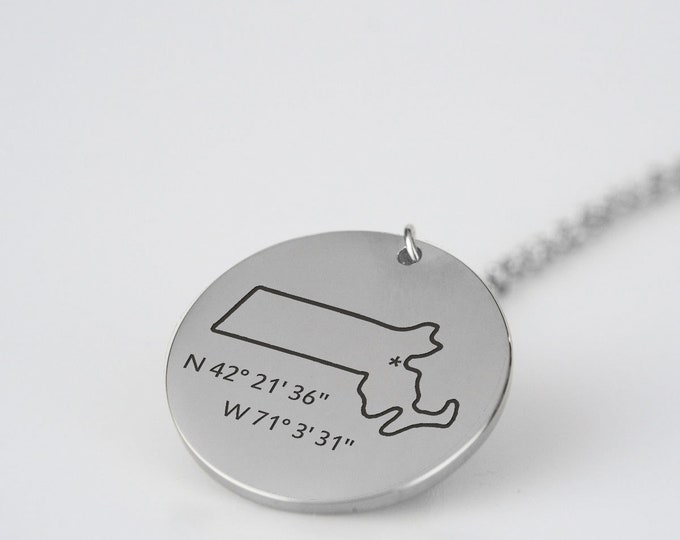 Coordinates Necklace GPS Coordinates State Necklace Massachusetts Texas California Necklace