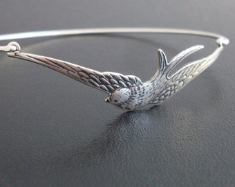 Bird Bracelet Silver Tone Swallow Bracelet Nature Inspired Jewelry Gift for Bird Lover Gift for Women Nature Gift for Her Bird Lover Jewelry
