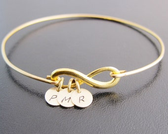 3 Best Friend Gift, Good Bye or Long Distance, Infinity Bracelet Initials, Grandmother, Mother, Daughter Bracelet, Friendship Bracelet for 3