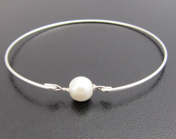 Cultured Freshwater Single Pearl Bracelet Dainty Pearl Bangle Simple Bracelet for Women Bangle Simple Bridal Bracelet Bridesmaid Bracelet