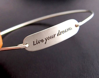 Live Your Dream Graduation Bracelet, High School or College Graduation Gift For Her, Daughter, Best Friend, Sister, Girls Graduation Jewelry
