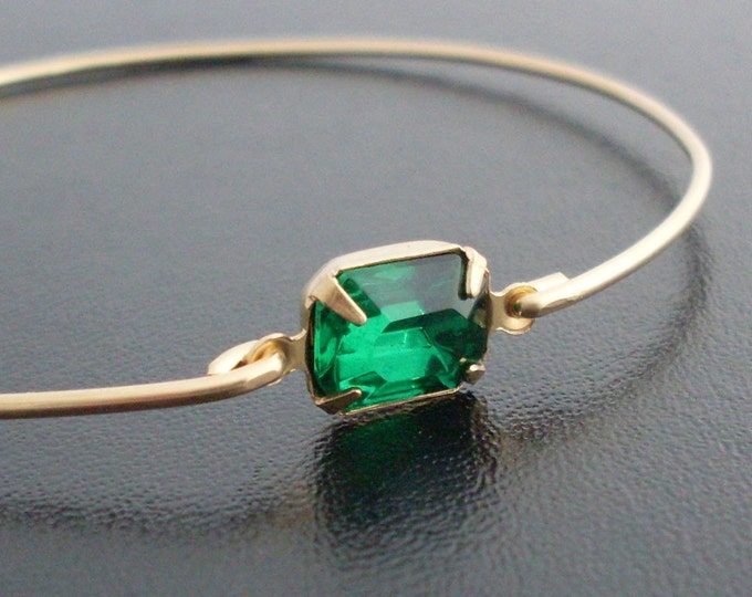 Green Rhinestone Bracelet, Green Bridesmaid Jewelry, Green Wedding Bracelet, Gold Tone, Green Bangle, Thin Bangle, Green Bracelet