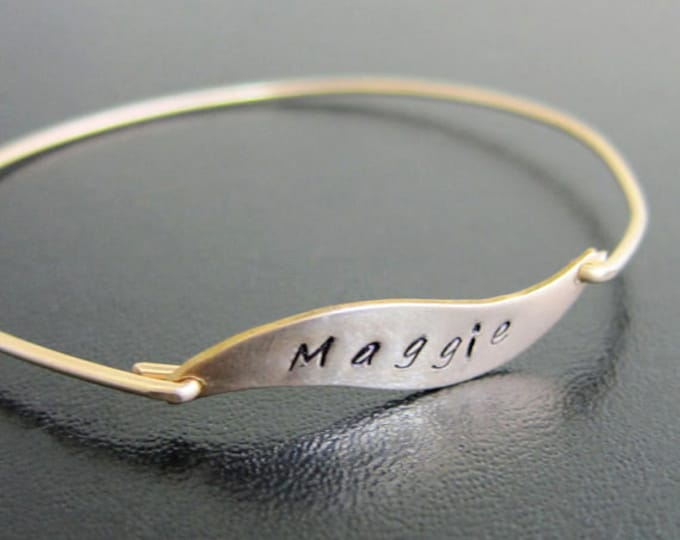 Name Jewelry, Hand Stamped Personalized Engraved Bracelet, Custom Engraved Jewelry, Wave Bracelet, Wave Jewelry, Name Bracelet, Wave Bangle